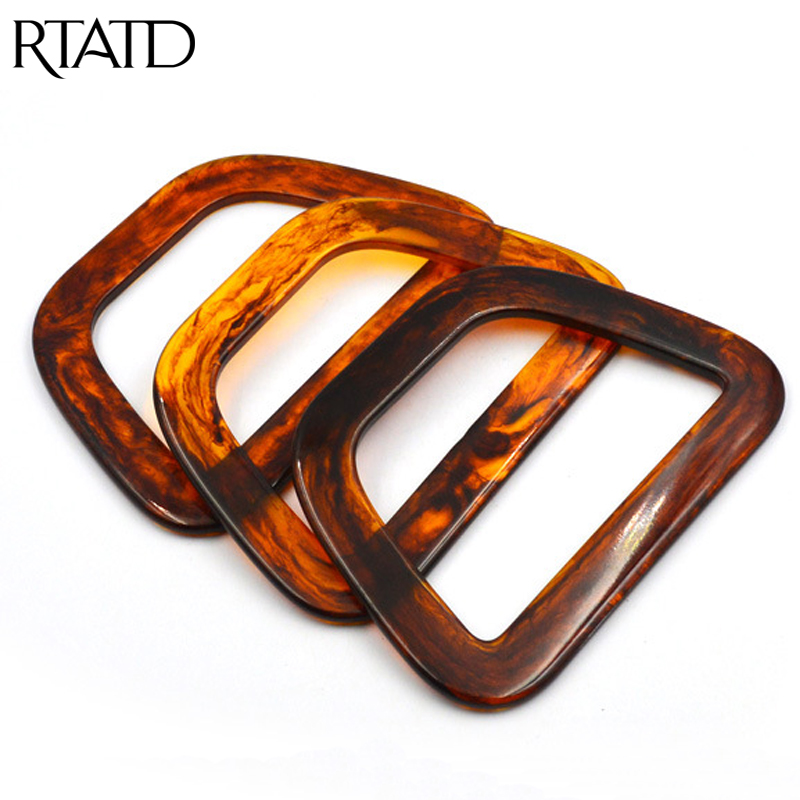 Rtatd 3pcs/lot Trapezoidal Shell Acrylic Handle For Evening Bag Gold Hand Wrist Handbag Essential Accessories Q0115 Convenience Goods Luggage & Bags