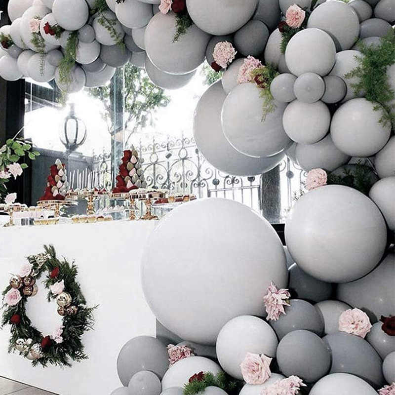 5/12/18 inch Large Big Grey Balloons Round Latex ballons Arch Baby Shower Wall Backdrop Decoration