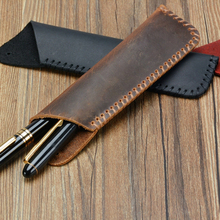 Vintage Genuine Leather Pencil Bag For Travel Diary Pen Case Cowhide Cover for Notebook