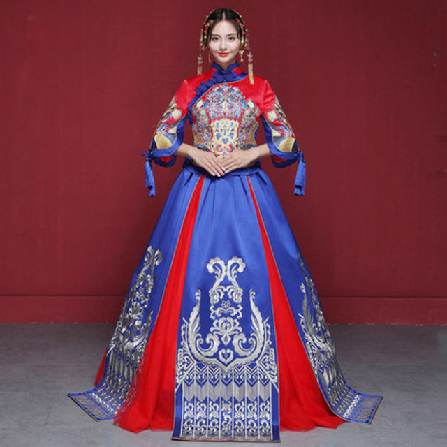 0cad8fbe968d81 Moderne Cheongsam bleu Qipao longue robe de mariée traditionnelle chinoise  Style Oriental robes chine vêtements magasin Traditions