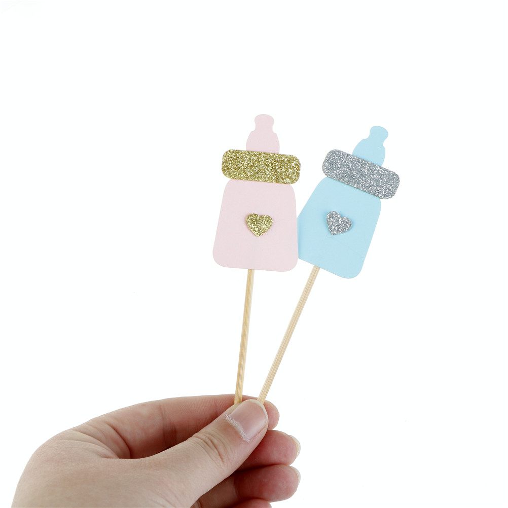 Feeding Bottle Cupcake Topper Kids Birthday Cake Toppers Party Decoration Supplies Blue Pink