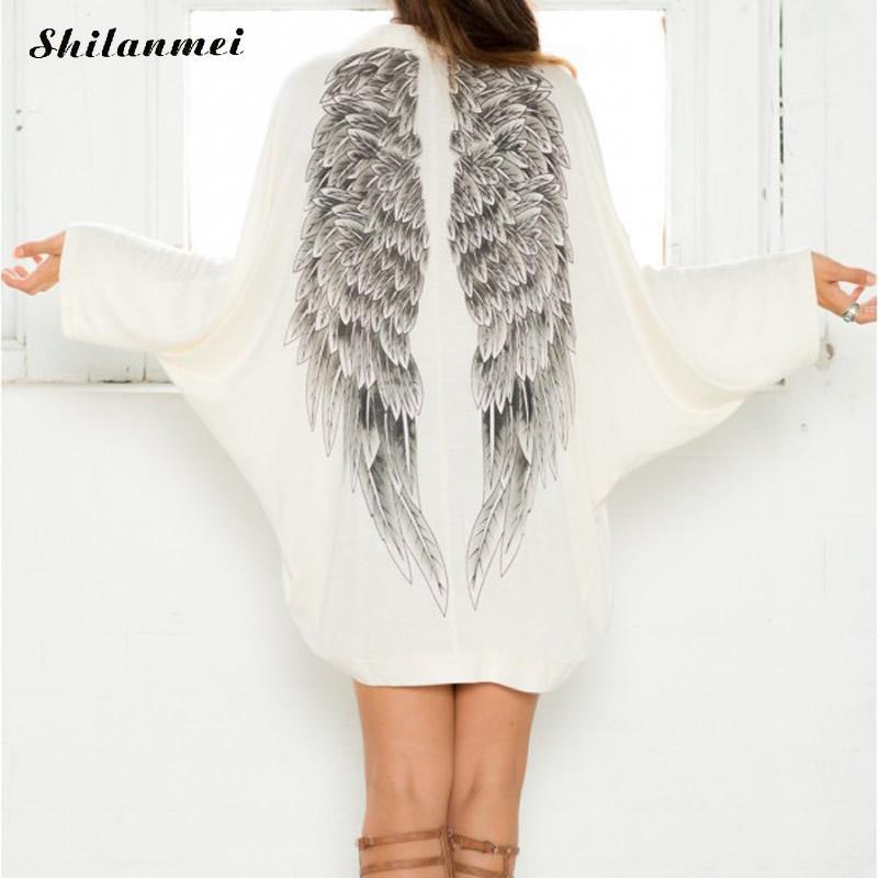 2cc2c54b488 2018 Autumn Women Cardigan Long Sleeve Casual Back Angel Wings Print Women  Jacket Batwing Sleeve Casual