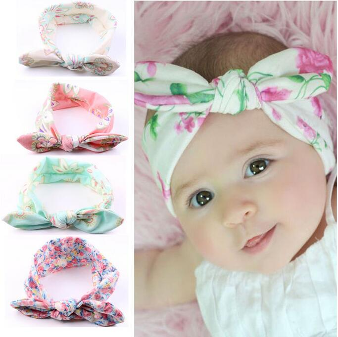 TWDVS Kids Girls Cute Flower Knot Elastic Hair Band Kids Cotton Ring Hair Accessories Newborn Rabbit ears Headband W219 12pc set elastic hair rubber band children hair unicorn headband kids hair accessories gril hair band set cute unicorn cartoon