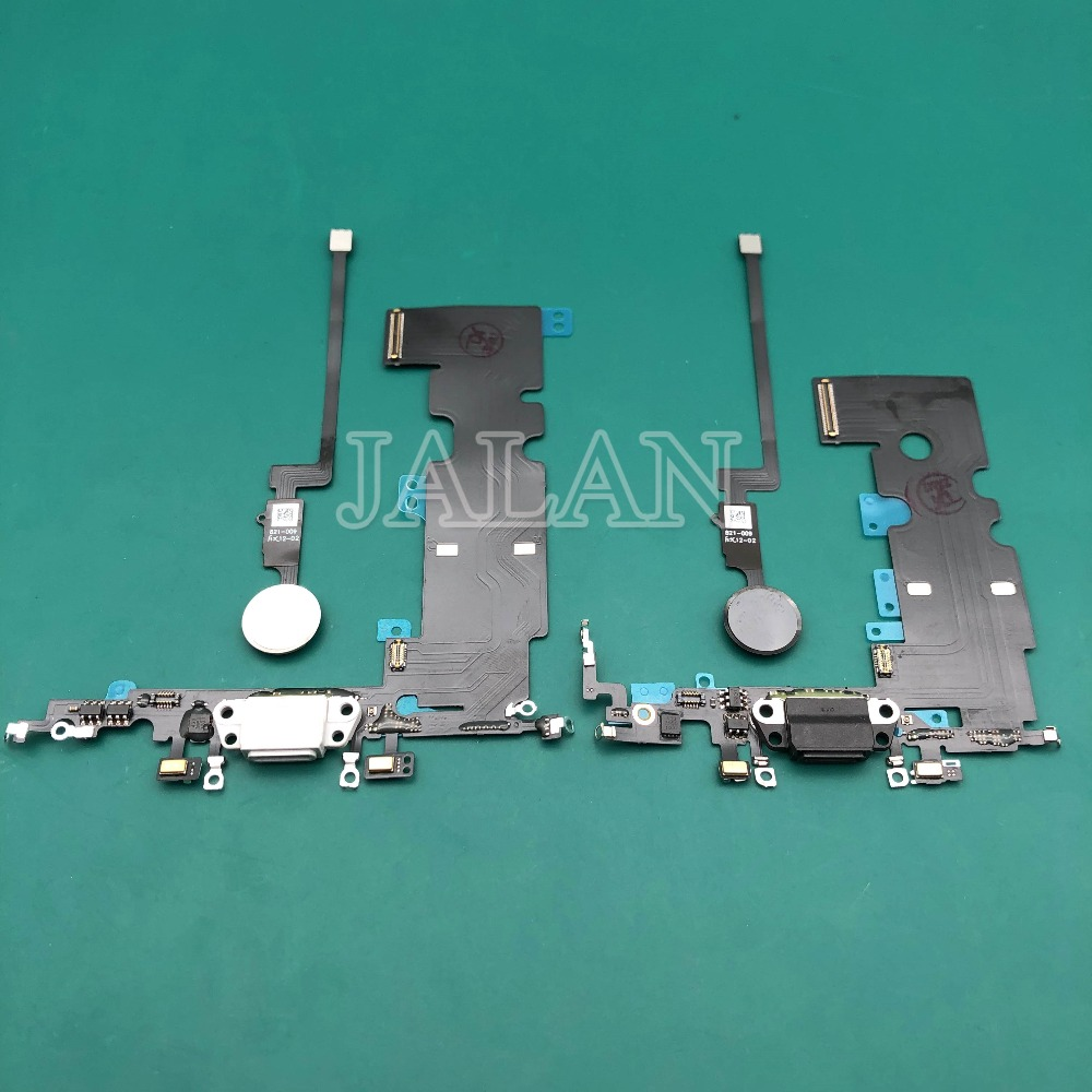 1pcs For Phone 7/7 Plus/8/8 Plus New USB Charging Port Dock Connector Flex Cable With Home Button Replacement For Phone Repair
