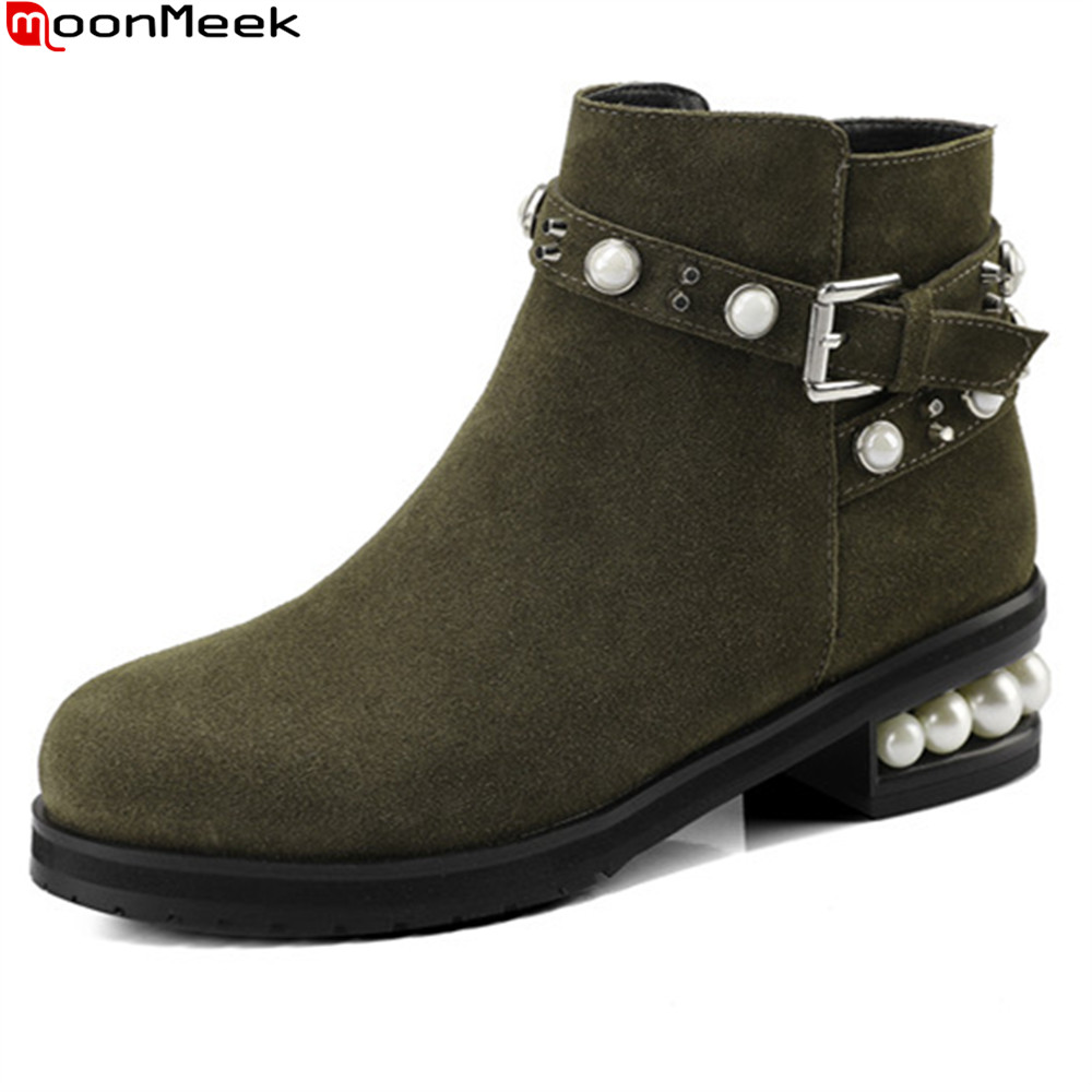 MoonMeek fashion autumn winter women boots zipper buckle square heel cow suede ladies boots black army green ankle boots