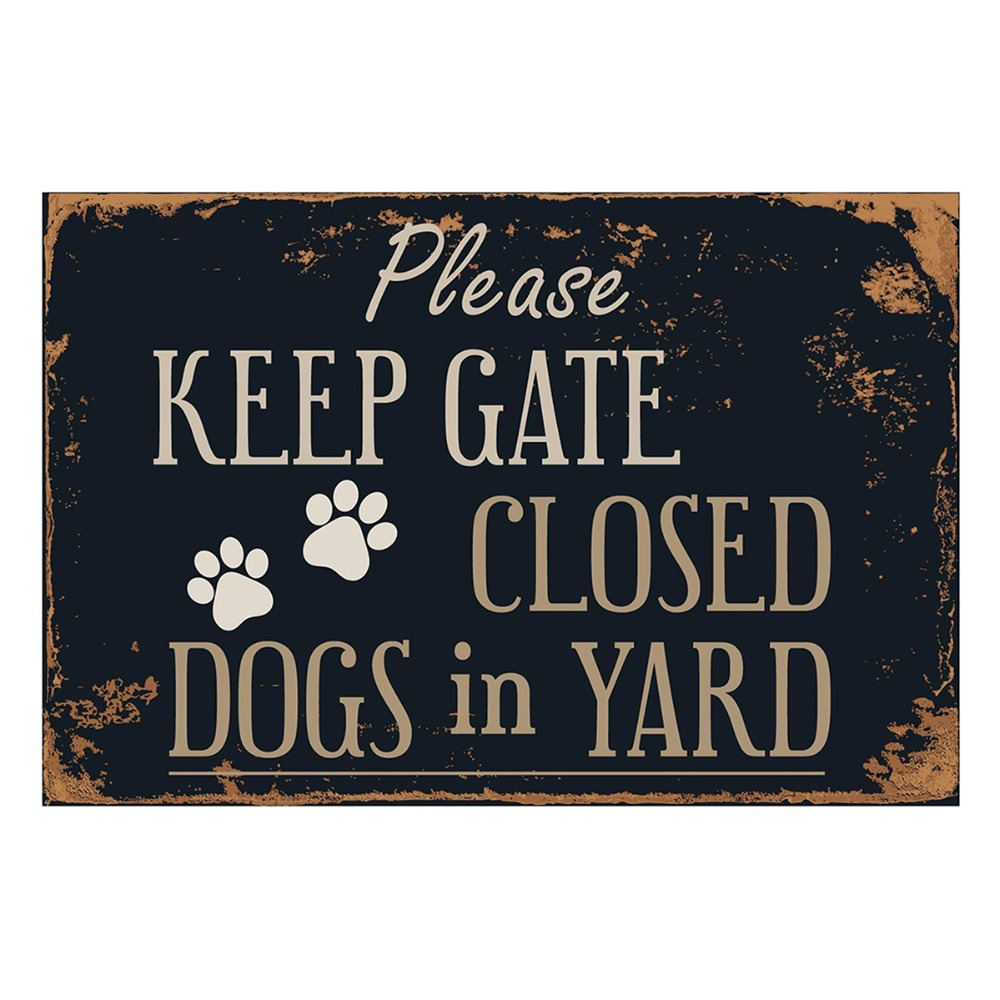 Please Keep Gate Closed Dogs in Yard Vintage Metal Tin Sign Poster Wall Sticker
