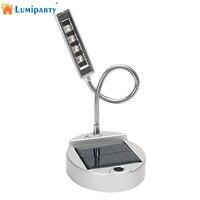 LumiParty 4 LED Güneş Enerjili & USB Şarj Edilebilir Masa Çalışması Gece Lambası Masaüstü Masa Okuma Göz koruma Lamba