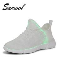 Повседневная Мужская обувь с подсветкой модные высокое качество светодиодные кроссовки с красочными светящиеся кроссовки белый свет до USB