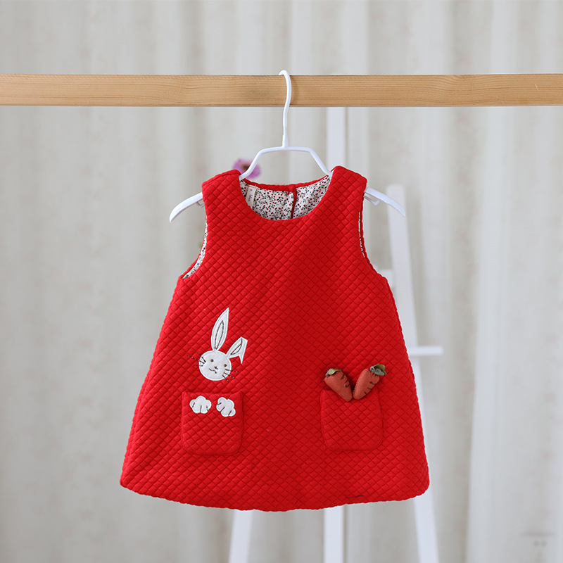Free shipping 4 colors 2016 baby girls cute rabbit vests children outerwear toddler girl waistcoats pocket wholesale 16081702
