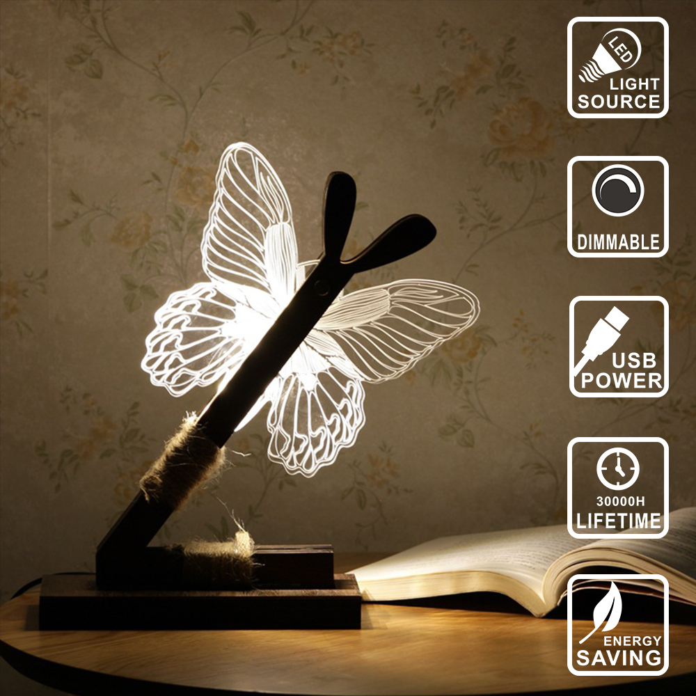 Creative Fashion Small 3D Stereoscopic LED Lamp Home Decoration Night Lamp Bedside Lamp Butterfly Style Birthday