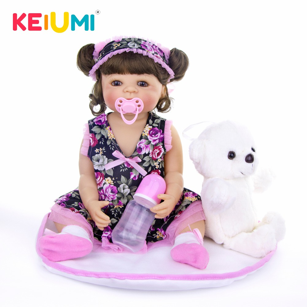 KEIUMI 22 Inch Lovely Reborn Silicone Doll Baby For Girls 55 CM Realistic Baby Toy Reborn