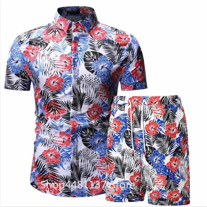 2019 летние модные рубашки с цветочным принтом для мужчин + шорты, мужские рубашки с коротким рукавом, повседневные мужские комплекты одежды, спортивный костюм, большие размеры