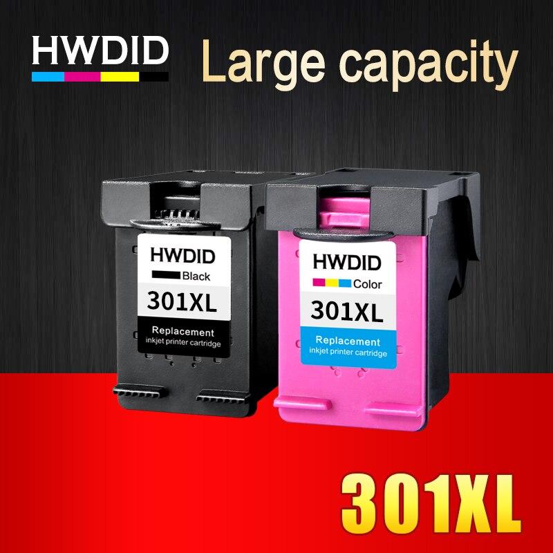 HWDID 2 Pack 301XL de recarga de tinta cartucho de repuesto para hp 301 xl CH563EE CH564EE para Deskjet serie 1000, 1050, 2000, 2050, 2510, 3000, 3054