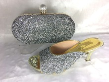 Silver Color African Women Shoes And Bags Set!Italian Shoes And Matching Bags For Party,italian shoe and bag set!HWE1-5