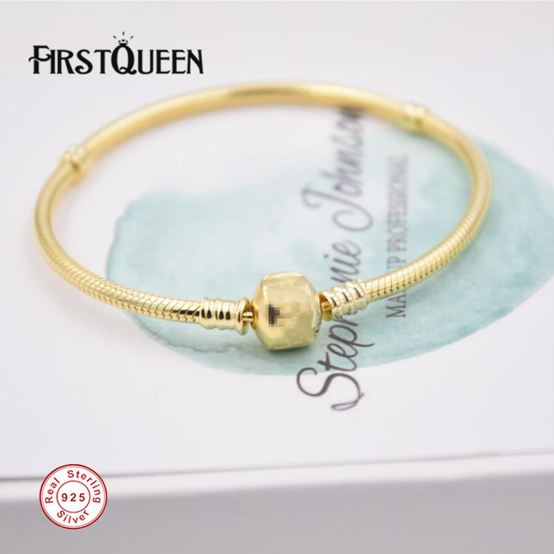 FirstQueen Solid 925 Silver Gold Colour Bracelet with Clasp Fit 4.3mm Charms Beads Anniversary DIY Gift For Jewelry MakingFirstQueen Solid 925 Silver Gold Colour Bracelet with Clasp Fit 4.3mm Charms Beads Anniversary DIY Gift For Jewelry Making