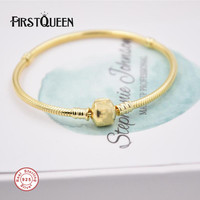 FirstQueen Solid 925 Silver Gold Colour Bracelet with Clasp Fit 4.3mm Charms Beads Anniversary DIY Gift For Jewelry Making