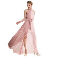 2018 New summer women dress goddess hanging neck collar chiffon pink dress long dress vestidos women's clothing ladies dresses