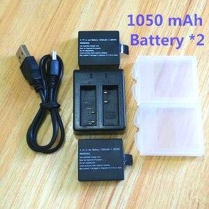 Image 1 - 1050 mAh battery charger for SJCAM Original sj4000 wifi Sj5000 M10 SJ7000 SJ9000 soocoo c30 EKEN H3 H9 Action Camera Accessories