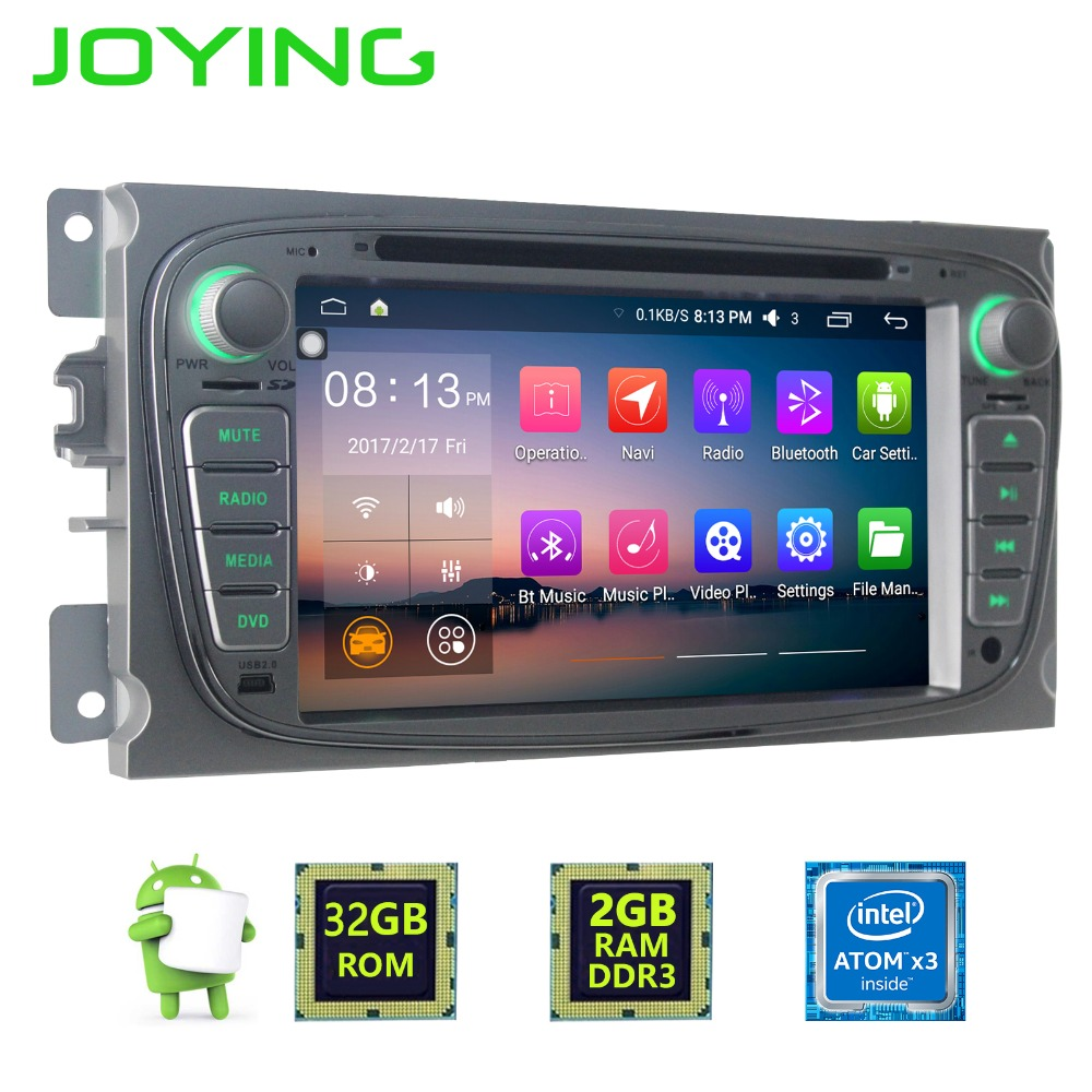 Joying 7 2GB+32GB Double 2 Din Android 6.0.1 Car Stereo Radio 1024*600 HD For Ford Focus Mondeo S-Max GPS Navigation head Unit joying 7 double 2 din android 6 0 universal car radio quad core 1024 600 hd car gps navigation best head unit car pc