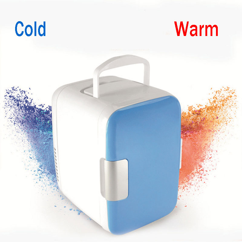 12V 220V Mini Car Fridge Portable Household Refrigerator Travel Auto Cooler Freezer Warmer Cooling Box Dual Use Office 4L