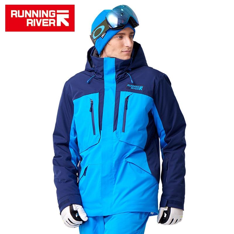 FIUME che scorre di Marca Giacca Da Sci Da Uomo 5 Colori 6 Formati di Inverno Caldo All'aperto Giacche e Giubbotti per lo Sport di Alta Qualità del Panno di Sport Per Uomo # A7035