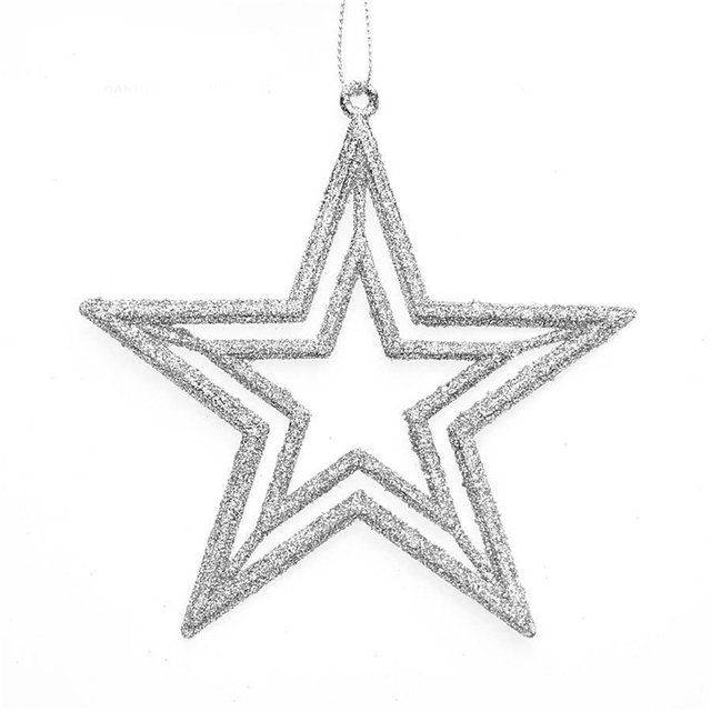 2 Pcs Five Pointed Star Shape Blingbling Christmas Tree Ornament Decoration For Home Gifts