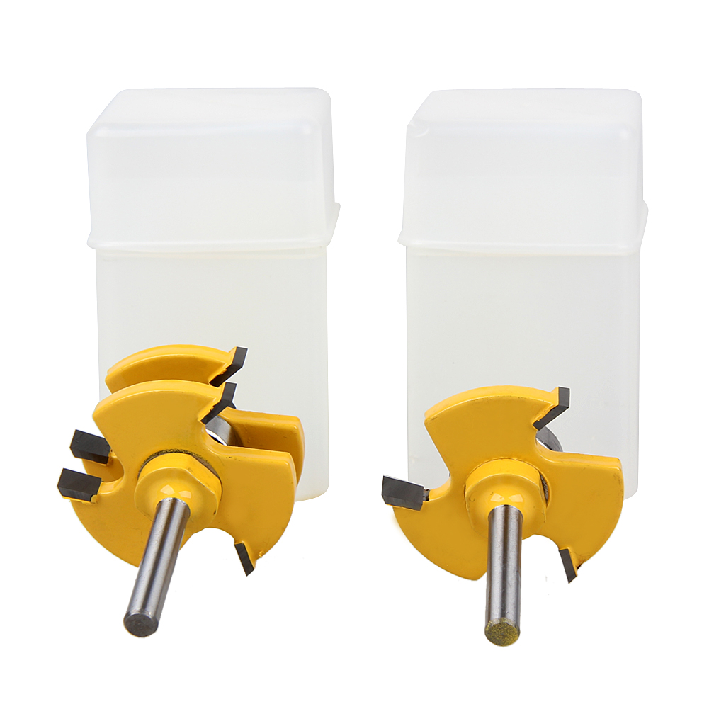 2pcs Tongue & Groove Router Bit Set Wood Working Tools 3/4 Stock 1/4 Shank 3 Teeth T-shape Wood Milling Cutter Flooring 2pcs hot sale tenon cutter floor wood drill bits groove and tongue router bit 1 4 t type shank 3 teeth milling cutter for wood