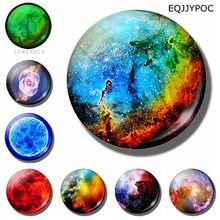 7Pcs 25MM Galaxy Nebula Fridge Magnet Glass Decorative Refrigerator Magnets Set Universe Space Luminous Magnetic Stickers Decor