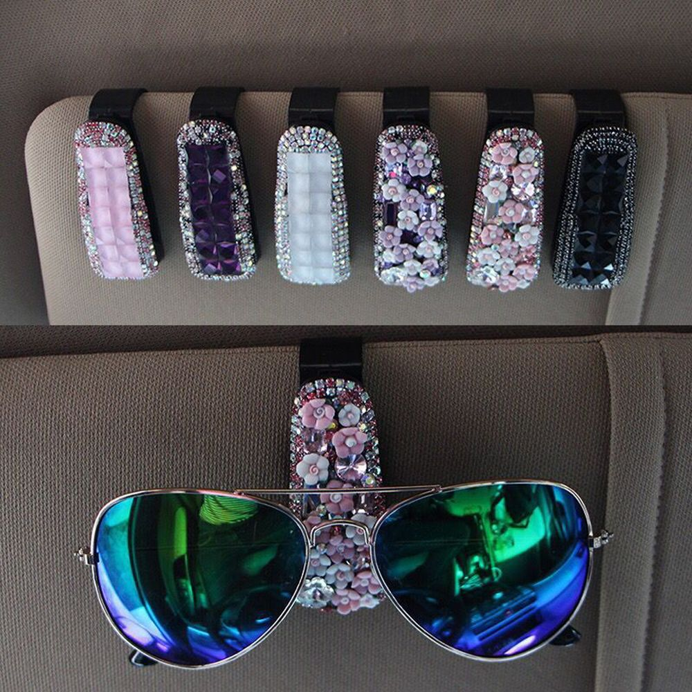 Авто Застежка Клип Кристалл Стразы автомобильный солнцезащитный козырек очки солнцезащитные очки папка для билетов квитанция карта зажим для хранения аксессуар держатель