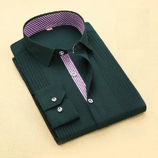 Thời trang Nam Tuxedo Sơ Mi Dài Tay Áo Bông Chất Lượng Cao Camisa, Cao cấp Duy Nhất Ngực England Áo Sơ Mi Phong Cách Vestido