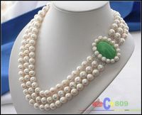 3 row green clasp 7 8mm genuine freshwater cultured white pearl necklace Factory Wholesale price Women Gift word Jewelry