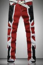 2015 Англия персонализированные человек брюки тонкий моды случайные печатные джинсы известных брендов мужские джинсы мотоцикла правда жан homme