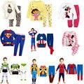 2016 Batman Pijamas Crianças Pijama de Algodão Do Bebê Do Menino Pijama Definir Superman Pijama Bebe Manga Longa Pijama Infantil Roupas Crianças Menino