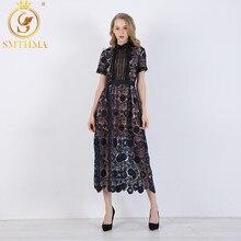 Женское длинное ажурное платье SMTHMA, платье макси из высококачественного цветочного кружева, элегантная подиумная модель