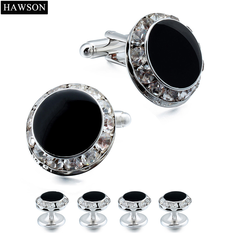 HAWSON Luxury Kristal Cuff links dan Studs Set untuk Tuxedo Mens - Perhiasan fashion - Foto 4