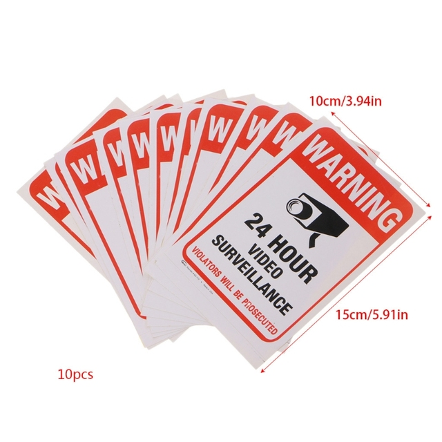 10pcs/lot Waterproof PVC CCTV Video Surveillance Security Sticker Warning Signs