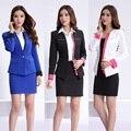 Novo 2017 Primavera Outono Salão de Beleza Uniforme Escritório Projeto Mulheres Ternos de Saia Das Senhoras Formais Sets Desgaste do Trabalho Blazer Azul Branco