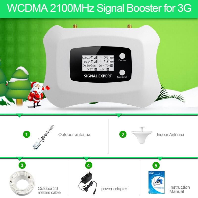Kit complet Intelligente LCD affichage 3G 2100 mhz WCDMA Répéteur cellulaire signal booster amplificateur 3g mobile Signal booster amplificateur