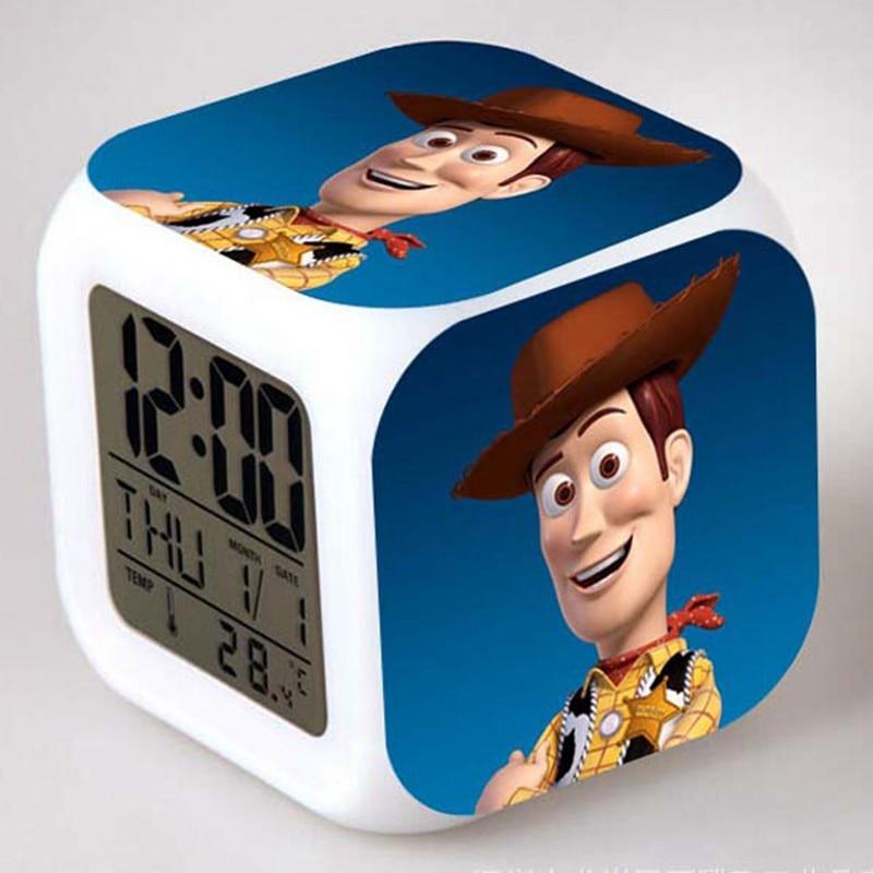 night light glowing led alarm clocks toy story watch reloj. Black Bedroom Furniture Sets. Home Design Ideas