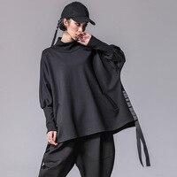 Women Oversized Bat Long Sleeve Half Turtleneck Loose Black Hoodie Female Streetwear Punk Gothic Hip Hop Pullovers Sweatshirt