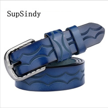 SupSindy Leather Belts for Women fashion Pin Buckle Female W