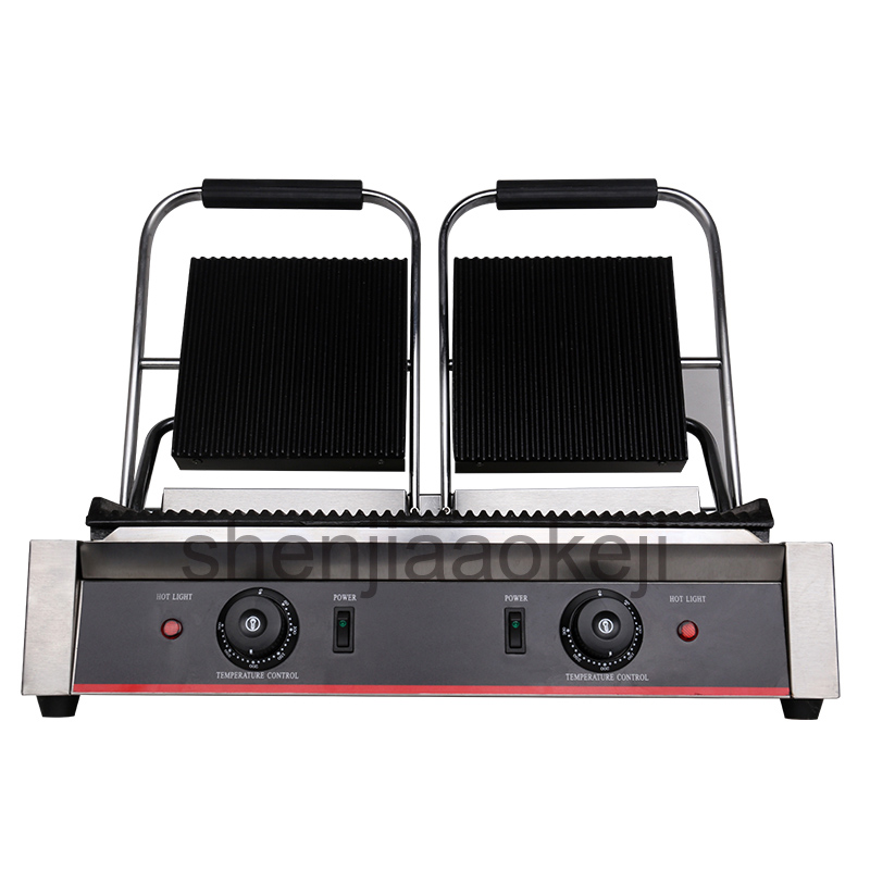 220 240v Non Stick Panini Press Plates stainless steel electric griddle Grilling pan Commercial Electric Sandwich maker 1800w*2