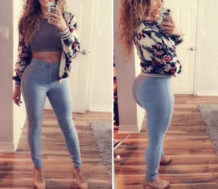 Women Light Blue High Waist Slim Denim Jeans Pants Fashion Plus Size Fashion Long Jeans Pencil