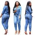 Комбинезоны джинсы Европейский стиль Женщины Комбинезон Джинсовые Комбинезоны Комбинезон Девушки Брюки