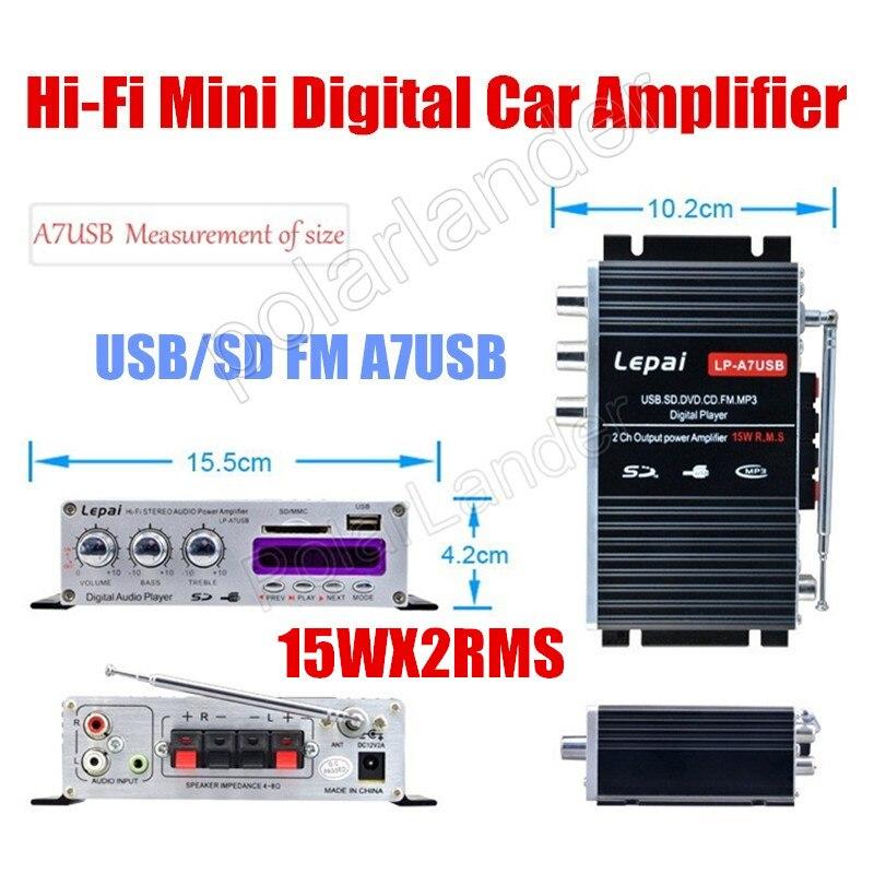 2ch output power amplifier 15WX2 RMS 12v car stereo amplifier Hi-Fi USB SD DVD CD FM MP3 d