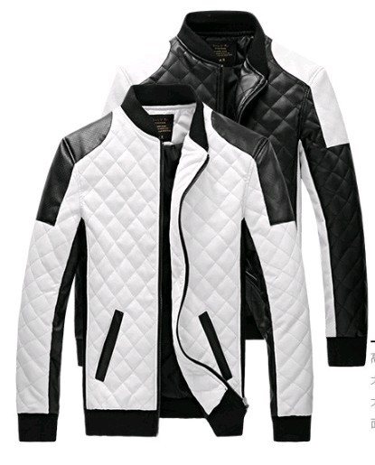 men Leather Jackets coats autumn black white lattice men Leather Jaquetas Jackets coat  Winter Leather Suede basic Jacket