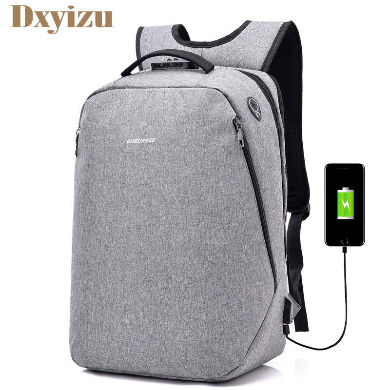 2018 Coded Lock Anti Theft Business Backpacks USB Charge Men Teenager Laptop Bag Travel Large Capacity Backpack Rucksack Mochila