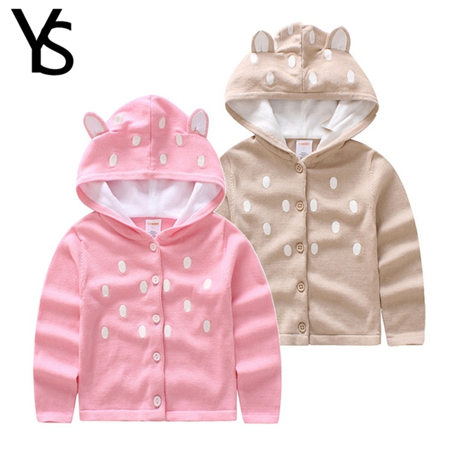 2-7T Autumn Winter Baby Boys Girls Sweater Hooded Coat Children Clothing Pull Fille Sweater Coat Knitted Cardigan Kids Clothes