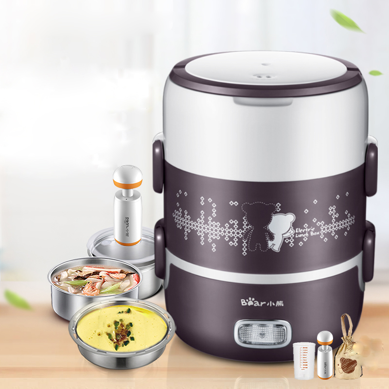 Bear DFH-S2123 Electric Lunch Box Thermal Lunch Box Can Be Plugged In Heating Three Layers Mini Steamer Cooking Vacuum dmwd electric heating lunch box food warmer lunchbox three layers meal vacuum insulation heat rice steamer stainless steel eu us