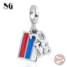 цена 2018 Russia The World Cup charms I Love soccer 925 silver fit original pandora pendant bracelet diy fashion jewelry making gifts онлайн в 2017 году